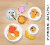 fresh breakfast with coffee ... | Shutterstock .eps vector #369524414