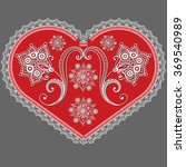 lace red valentine heart in... | Shutterstock . vector #369540989