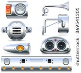vector chromed truck parts set 3 | Shutterstock .eps vector #369541205
