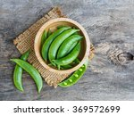 Green Pea In Bowl Of Top View...