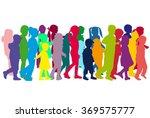 group of children's silhouettes.   Shutterstock .eps vector #369575777