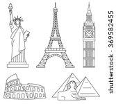 world landmarks  eiffel tower ... | Shutterstock .eps vector #369582455