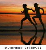 blur silhouette of two women... | Shutterstock . vector #369589781