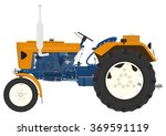 Cartoon Vintage Tractor On A...