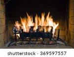 fire in fireplace. closeup of... | Shutterstock . vector #369597557