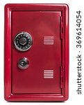 Red Safe Deposit Box On A Whit...