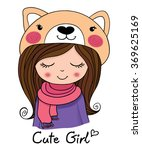 cute girl | Shutterstock .eps vector #369625169