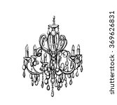 Hand Drawn Chandelier On White...