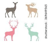 various silhouettes of deer... | Shutterstock .eps vector #369649565