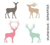 Various Silhouettes Of Deer...