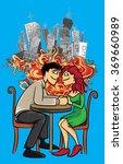 romantic couple holding hands... | Shutterstock .eps vector #369660989