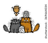 fluffy cats family  sketch for...   Shutterstock .eps vector #369664034