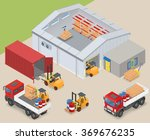 isometric warehouse interior ... | Shutterstock .eps vector #369676235