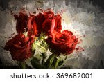 stylized bouquet of red roses... | Shutterstock . vector #369682001