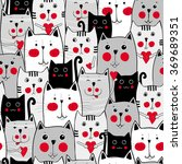black  white  grey cute cats... | Shutterstock .eps vector #369689351