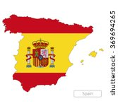 Map Of Spain With The Flag....