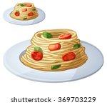 spaghetti with tomato cherries... | Shutterstock .eps vector #369703229