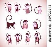 funny monkey silhouette ... | Shutterstock .eps vector #369721145