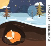 let it snow. fox sleeping in... | Shutterstock .eps vector #369724379