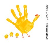 handprint mother hen with... | Shutterstock .eps vector #369744239