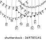 hand drawn borders  garland and ... | Shutterstock .eps vector #369785141