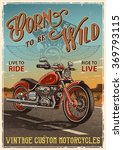 vintage motorcycle poster.... | Shutterstock . vector #369793115