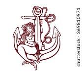 pretty siren mermaid pin up...   Shutterstock .eps vector #369810971