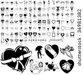 valentinday set of black sketch.... | Shutterstock .eps vector #36981382