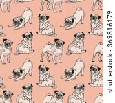 cute dogs. pug. vector seamless ... | Shutterstock .eps vector #369816179