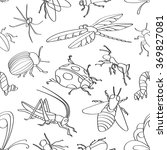 doodle pattern insects | Shutterstock .eps vector #369827081