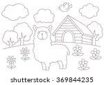 alpaca coloring book line... | Shutterstock . vector #369844235