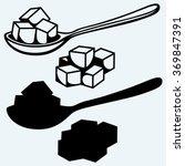 refined white sugar  spoon.... | Shutterstock .eps vector #369847391