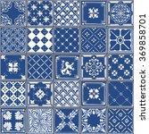 indigo blue tiles floor...   Shutterstock .eps vector #369858701
