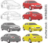 car set illustration two view | Shutterstock .eps vector #369868031