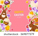 Happy Easter Pink Banner With...