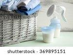 manual breast pump  baby bottle ... | Shutterstock . vector #369895151