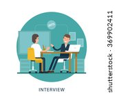 jobseeker and employer sit at... | Shutterstock .eps vector #369902411