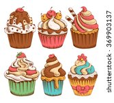 set of sweet bakery decorated... | Shutterstock .eps vector #369903137