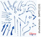 set of blue hand drawn pencil... | Shutterstock .eps vector #369911231