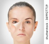 Small photo of Aging process, rejuvenation anti-aging skin procedures old and young concept