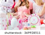 Stock photo best friends on baby shower party celebrating giving kid stuff as present 369928511