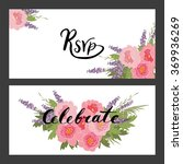 floral peony and lavender retro ... | Shutterstock .eps vector #369936269