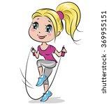 girl doing aerobic exercises.... | Shutterstock .eps vector #369955151