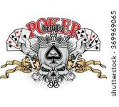 Poker Grunge Skull Coat Of Arms