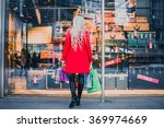 woman looking at window shop  ... | Shutterstock . vector #369974669