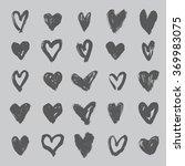 brush stroke hearts set  vol. 3   Shutterstock .eps vector #369983075