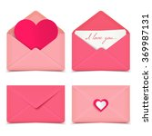 set of four pink valentine... | Shutterstock .eps vector #369987131