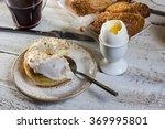 breakfast   donut   egg  coffee ... | Shutterstock . vector #369995801
