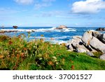 Landscape with rocks and ocean waves - stock photo