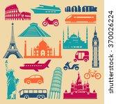 flat icons of famous landmarks... | Shutterstock .eps vector #370026224